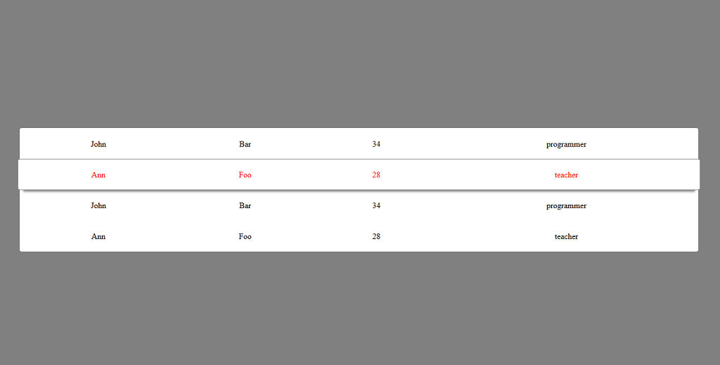 Highlighting Html Table Row On Hover By Making It Wider Than The